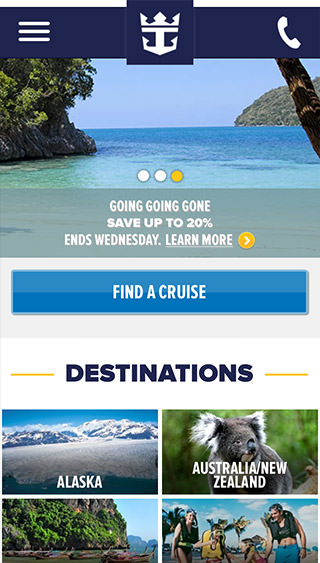 Royal Caribbean Cruise Planner - swipe