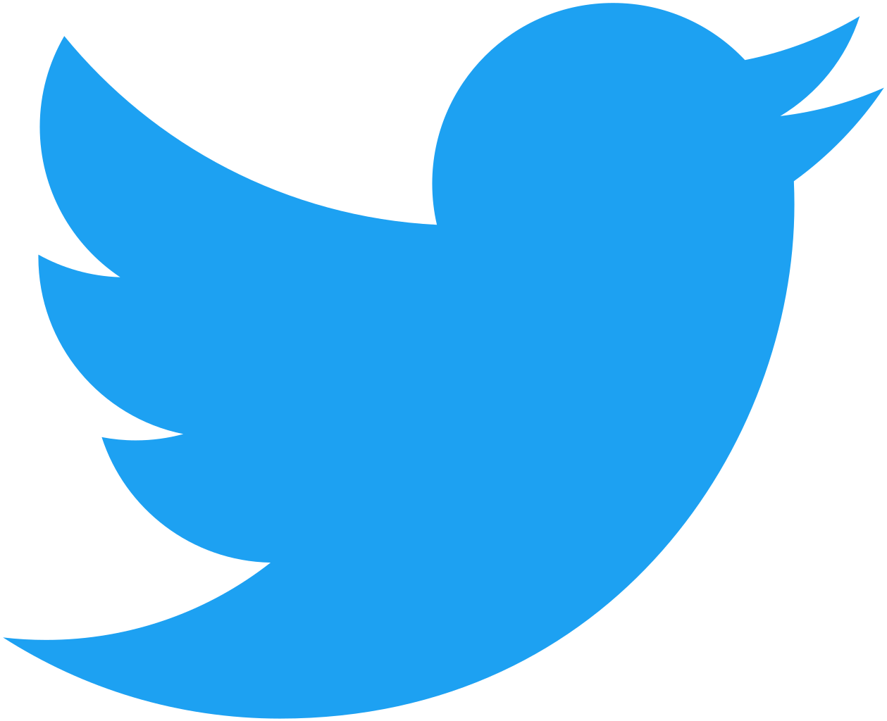 A bright blue illustration of a bird, the Twitter logo