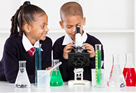 African-American students in science lab