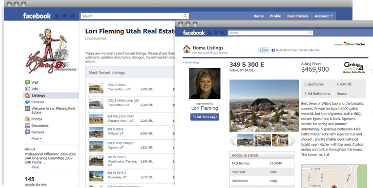 Facebook property pages inside Facebook