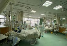 A hospital where coronavirus patients are being treatedc