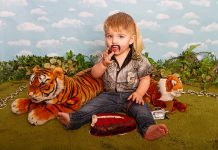 Toddler dressed as Joe Exotic from Tiger King