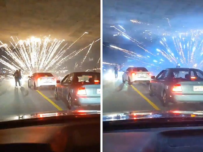 Fireworks Show Stops Traffic on the 5 Freeway