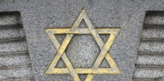 Star of David – Jewish symbol on an old Hebrew grave in Milan, Italy.