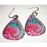 Tie die guitar pic earrings
