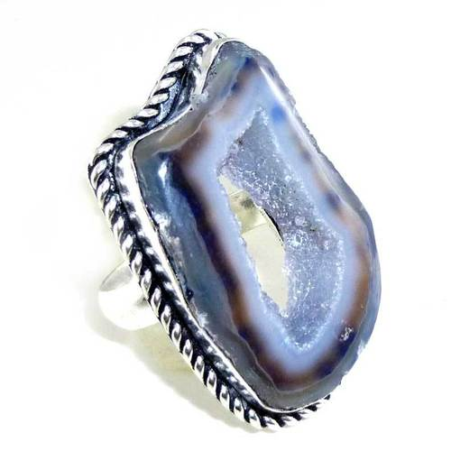 Geode Slice & 925 Silver Ring Uk Size:O Size:7.5