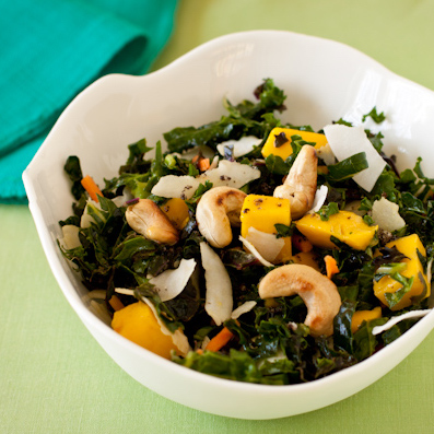 Kale-mango-coconut salad with toasted cashews