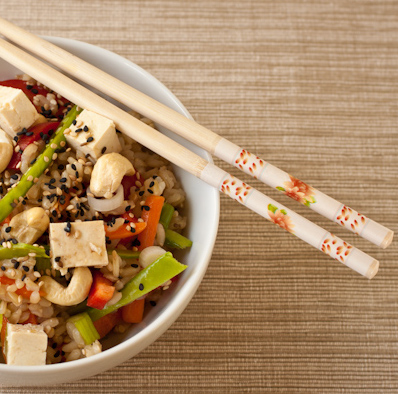 Healthy Asian rice salad