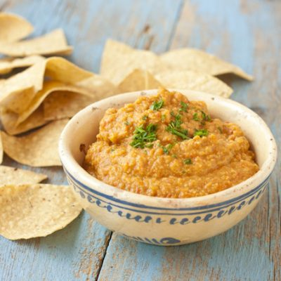 Roasted Hatch chile pepper hummus
