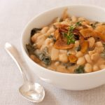 White Bean Kale Soup with Coconut Bacon