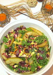 Fall Harvest Roasted Pear and Kale Salad