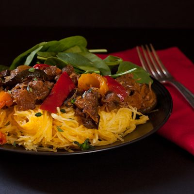 Ratatouille with ground beef and spaghetti squash