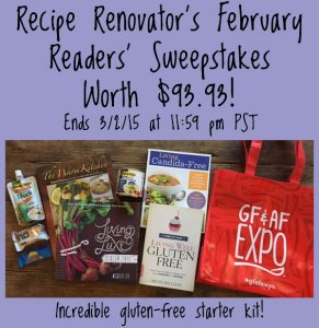February sweepstakes on Recipe Renovator | Gluten-free starter kit | Ends Monday 3/2/15 at 11:59 PM PST