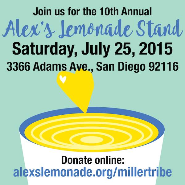 Alex's Lemonade Stand Miller Tribe | Saturday July 25 10 am - 6pm San Diego