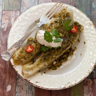 "Paleo chicken ""enchiladas"" with cashew sour cream"