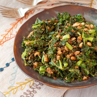 Pan-roasted kale with crispy Italian breadcrumbs {gluten-free}