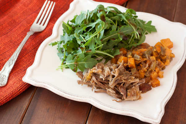 Pumpkin apple spice pulled pork with sweet potatoes