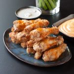 Baked hot wings with paleo dipping sauces from Recipe Renovator | Gluten-free, paleo, low-sugar, low-carb, gluten-free, low-sodium. Oh, and easy!