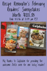 February 2016 Readers' Sweepstakes from Recipe Renovator: 4 #glutenfree cookbooks and #Calphalon Dutch oven | Ends 3/1/16 at 11:59 PM PST