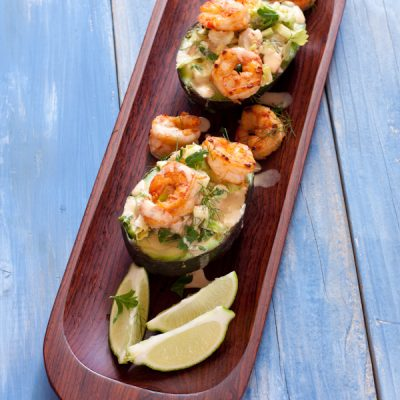 Shrimp salad in avocado boats
