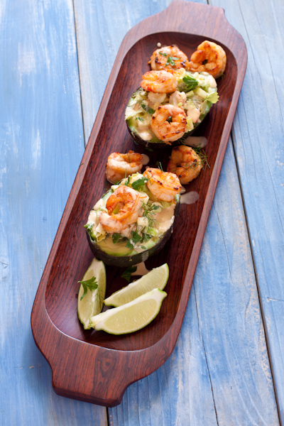 Shrimp Salad in Avocado Boats | Recipe Renovator | Gluten-free, paleo, grain-free, nut-free