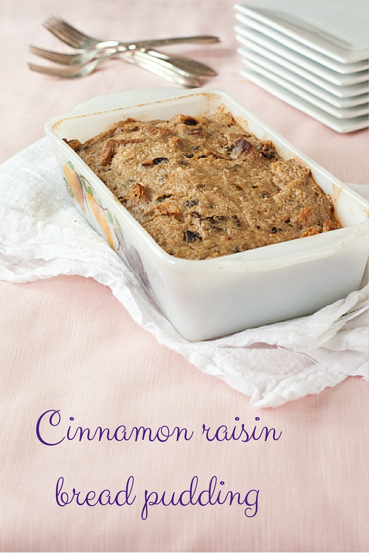 Cinnamon raisin bread pudding from Recipe Renovator. Low in sugar, lovely cinnamon taste, lightly sweetened with dates. Gluten-free.