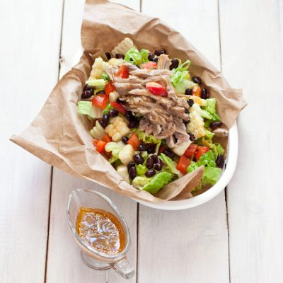 BBQ salad using leftover pulled pork and corn on the cob {paleo option}