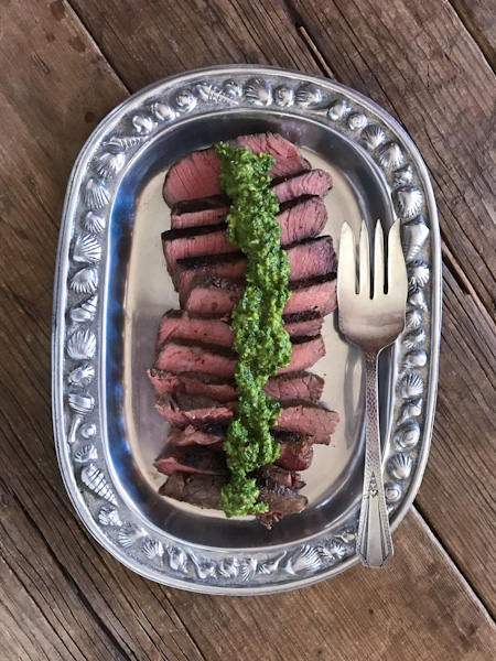 Sous vide steak with chimichurri sauce made with Hamilton Beach Sous Video Slow Cooker from Recipe Renovator