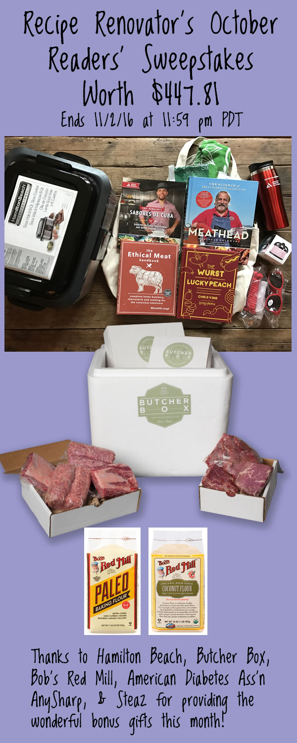 Win meat lovers' prize bonanza from Recipe Renovator | Sous vide machine, 1 month Butcher Box, knife sharpener, 4 meaty cookbooks, more. Ends 11/2/16 at 11:59 PM PDT.