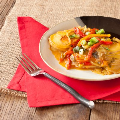 Scalloped Idaho® potatoes with roasted chiles from The Migraine Relief Plan