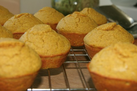 Moist, delicious pumpkin muffins fresh from the oven