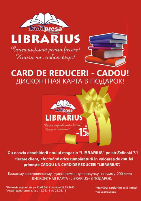 Librarius Card de reduceri in noul magazin