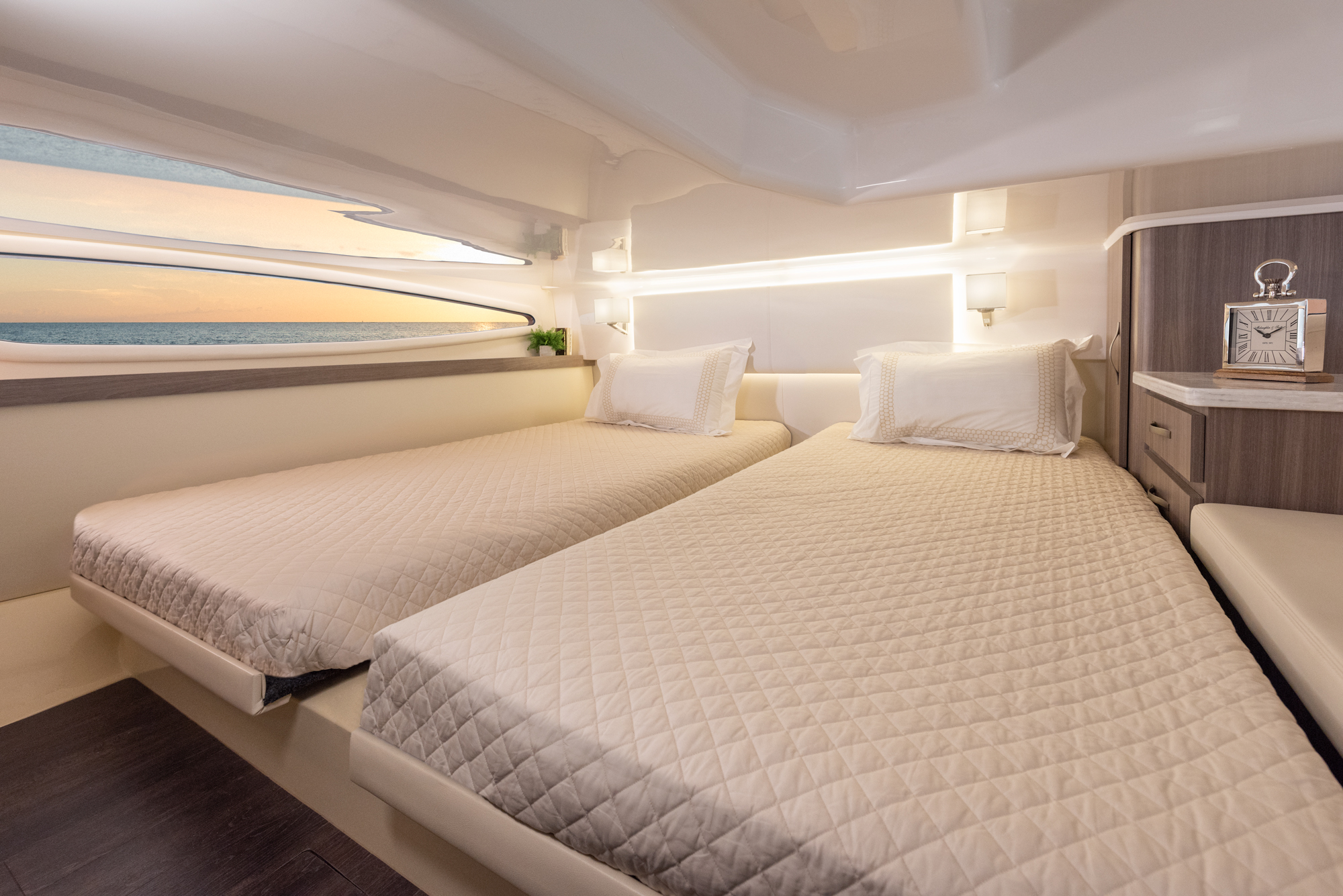 The Two Twin Beds In The Aft Cabin Can Be Converted Into A King Bed With Ease Regal Boats