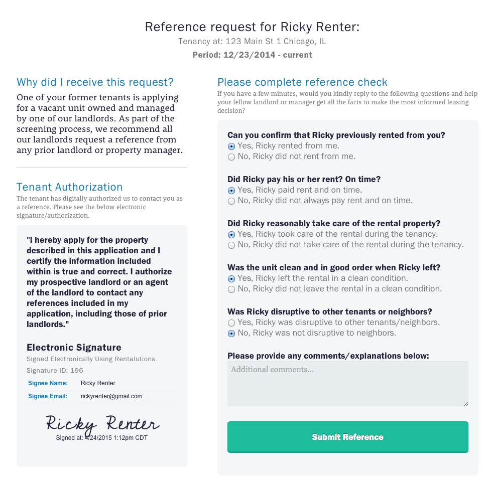 renter reference authorization form. Black Bedroom Furniture Sets. Home Design Ideas
