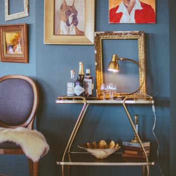 Mod Bar Cart, Gray Lady Chair
