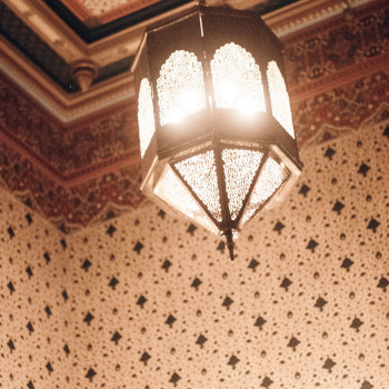 The most beautiful lantern chandelier hangs in the Persian Room.