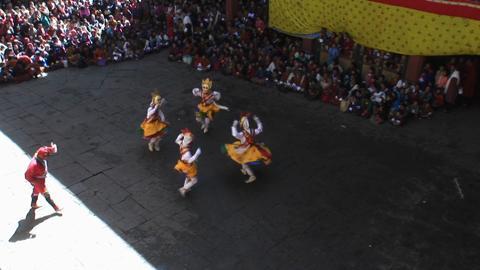 Durthro Dagmo Chezhi, Paro Tsechu, Day One: Inside the Dzong [Wide shot]