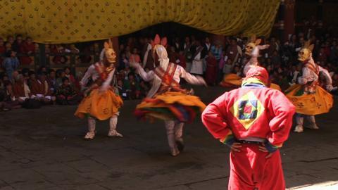 Durthro Dagmo Chezhi, Paro Tsechu, Day One: Inside the Dzong [Close shot]