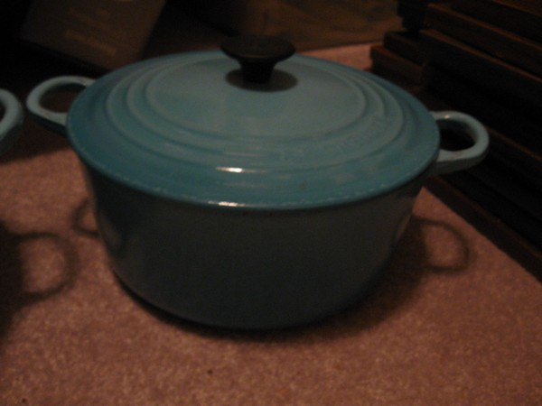 vintage le creuset cast iron green enameled round dutch oven pot france sold by neat repeat. Black Bedroom Furniture Sets. Home Design Ideas