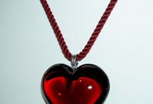 Baccarat Crystal Ruby Red Glamour Heart Sterling 925 Necklace With Box