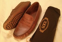 Tod's Men's Tan Leather Loafers Driving Shoes