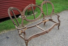 Victorian Antique Walnut Cameo Backed Love Seat Frame