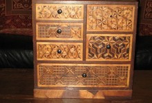 Antique Handlaid Parquetry Pattern Apprentice Chest Of Drawers