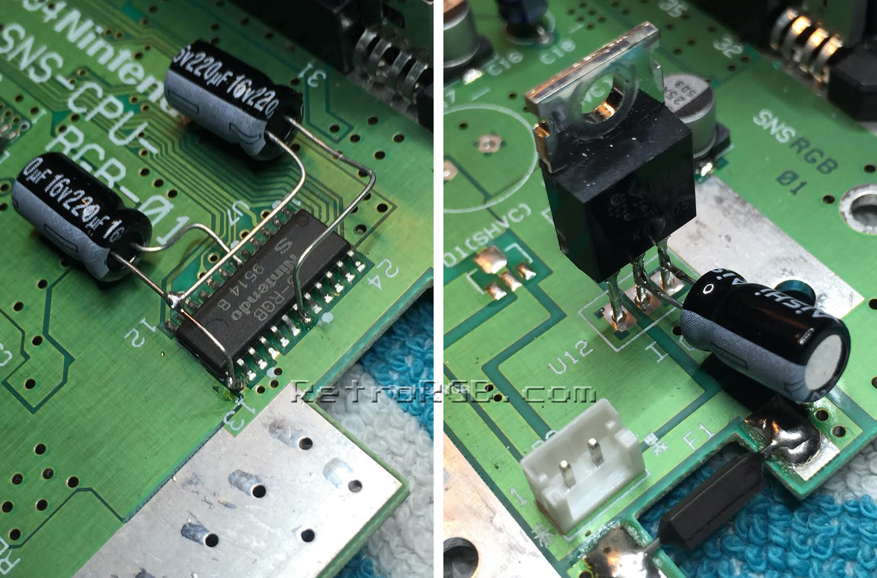 Snes Vertical Line Retrorgb Voltage Regulator 7805 Circuit Alex Arcadetv Suggests A Similar Method That Includes Replacing The Big 2200uf Capacitor Plus Three 220uf One On Output Of And Two