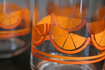 Orange Slice Glasses, set of 5