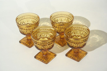Amber Glass Dessert Dishes, Set of 4