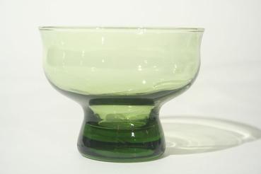 Green Glass Dessert Dishes, Set of 4