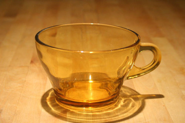 Amber Glass Coffee or Tea Cups, set of 4