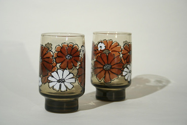 Libbey Accent Tawny Brown Highball Glasses with flower pattern, set of 2
