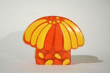 Lucite Orange and Yellow Mushroom Napkin Holder